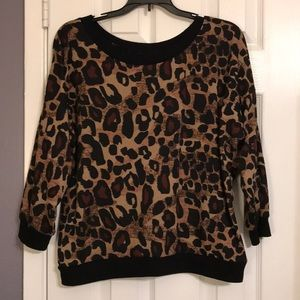 Cato Leopard Print Sweater with Lace Cut-out